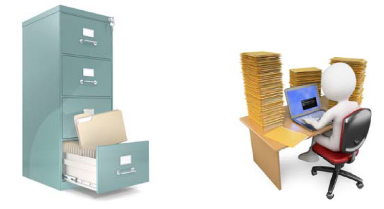 Filing cabinet and office worker